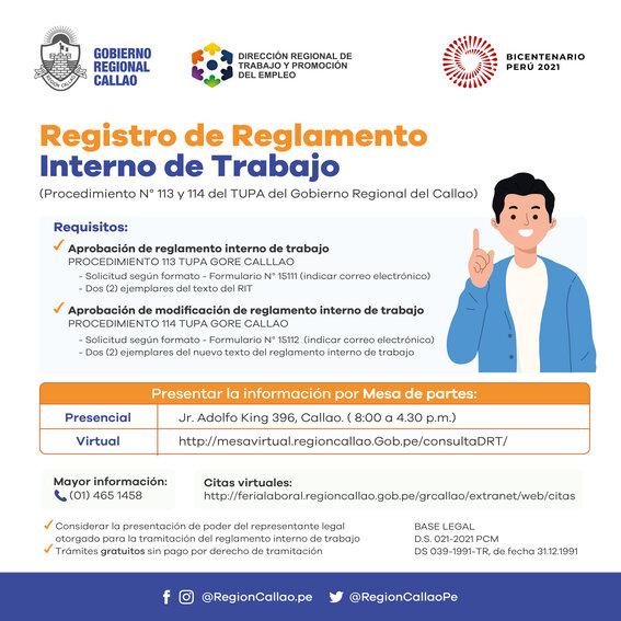 REGISTRO DE REGLAMENTO INTERNO DE TRABAJO
