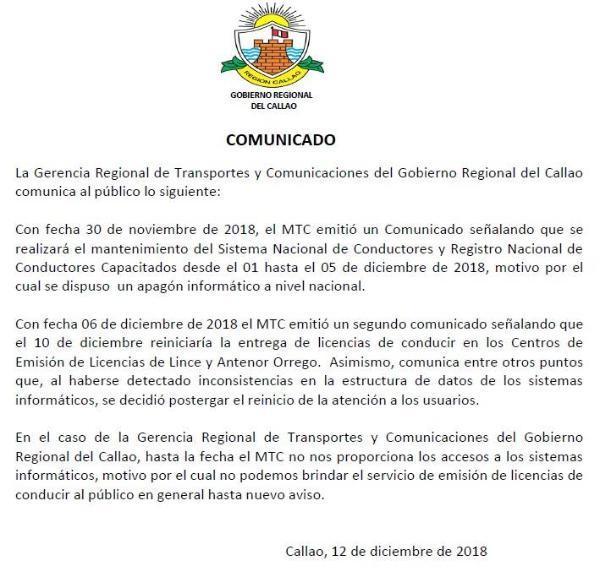 Comunicado de la Gerencia Regional de Transportes y Comunicaciones