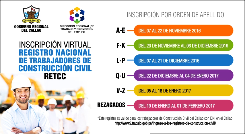 INSCRIPCIÓN VIRTUAL - REGISTRO NACIONAL DE TRABAJADORES DE CONSTRUCCIÓN CIVIL - RETCC
