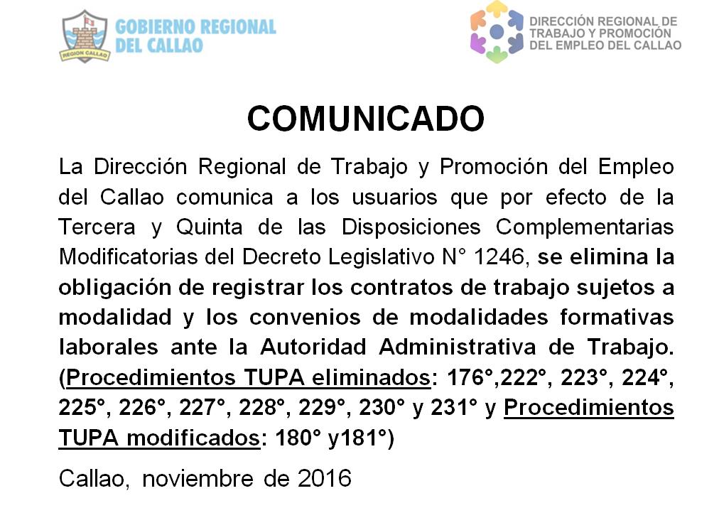COMUNICADO DE LA Dirección Regional de Trabajo y Promoción del Empleo del Callao