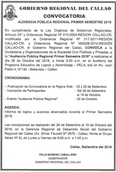 Audiencia Pública Regional PRIMER SEMESTRE 2018