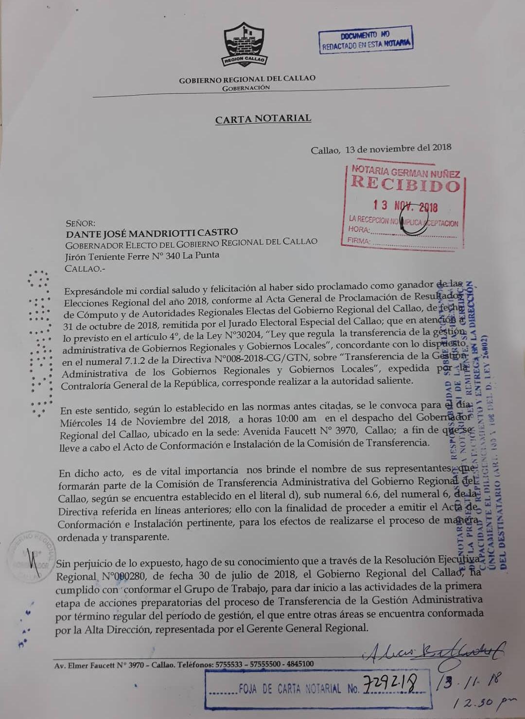 Gobierno Regional del Callao convoca a autoridades electas