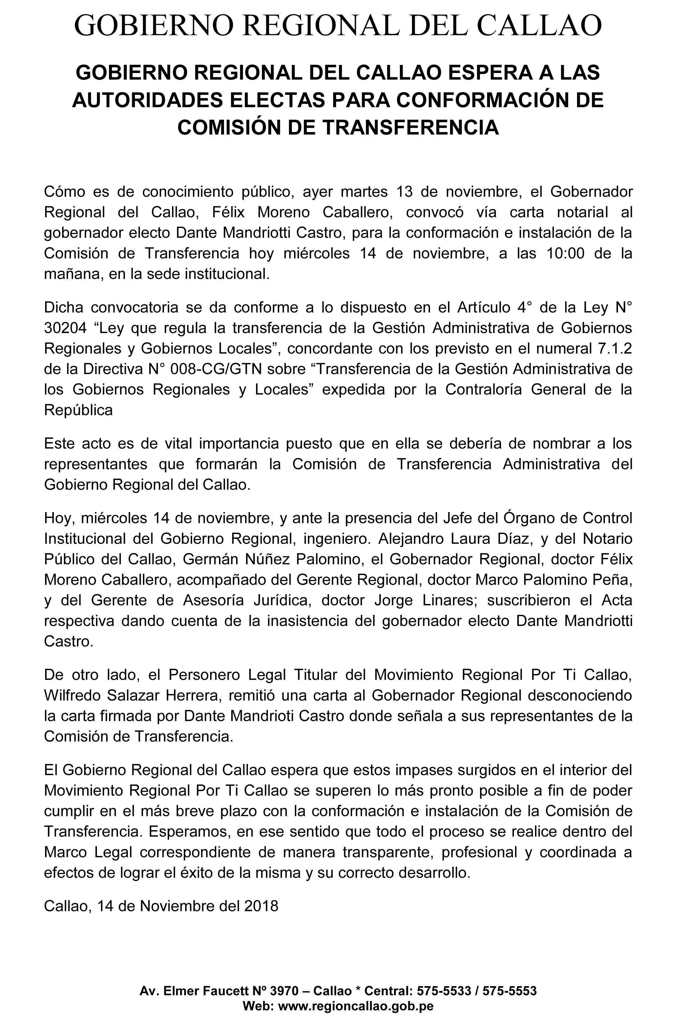 Gobierno Regional del Callao espera a las autoridades electas para conformación de Comisión de Transferencia