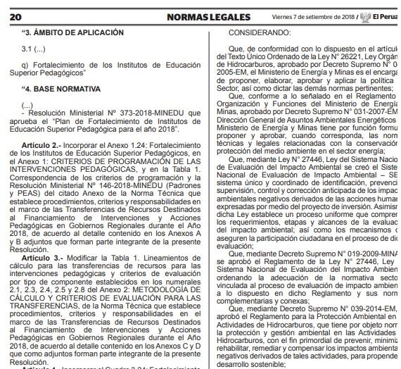 Modificación del Reglamento de Protección Ambiental en las Actividades de Hidrocarburos