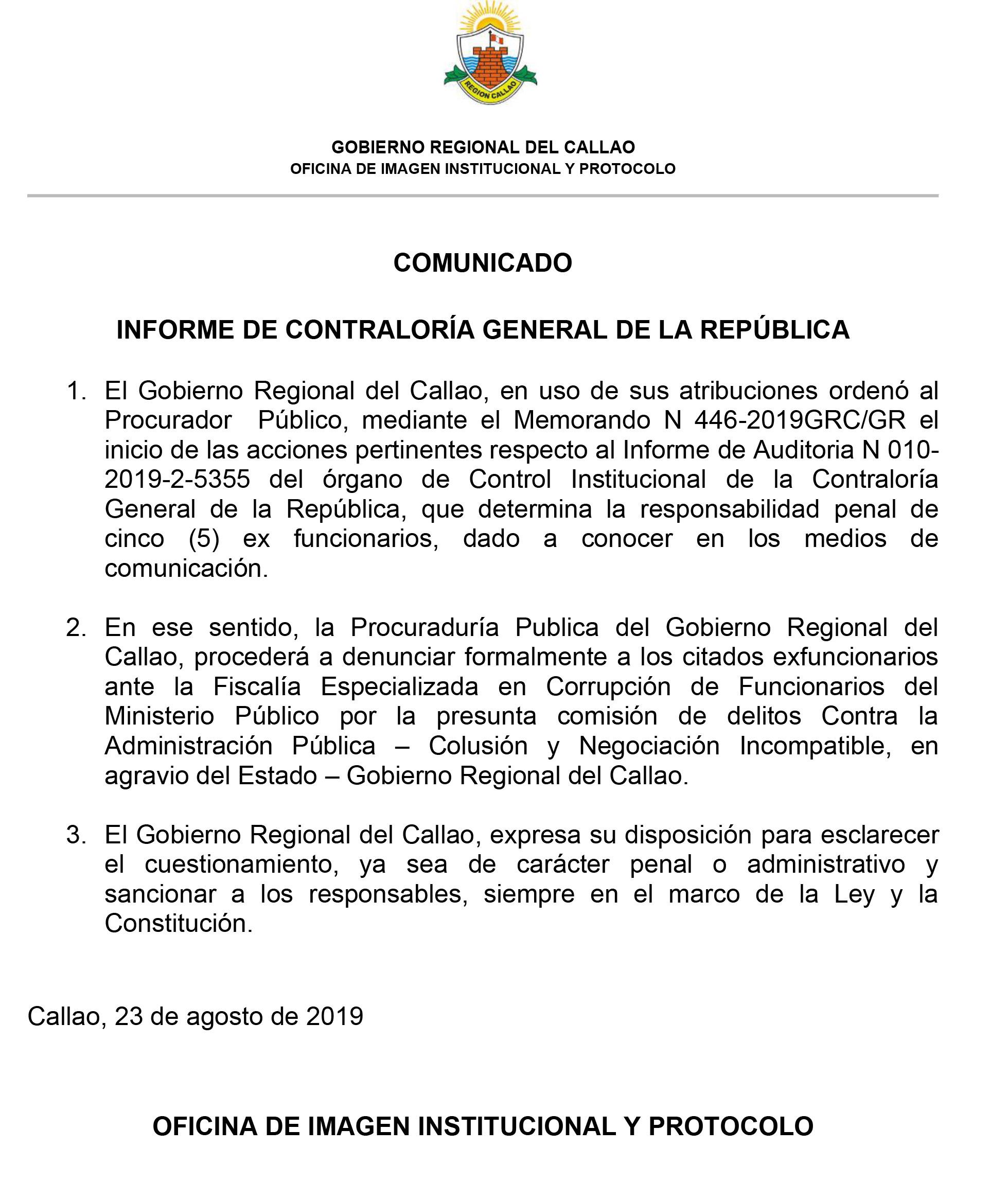 INFORME DE CONTRALORÍA GENERAL DE LA REPÚBLICA
