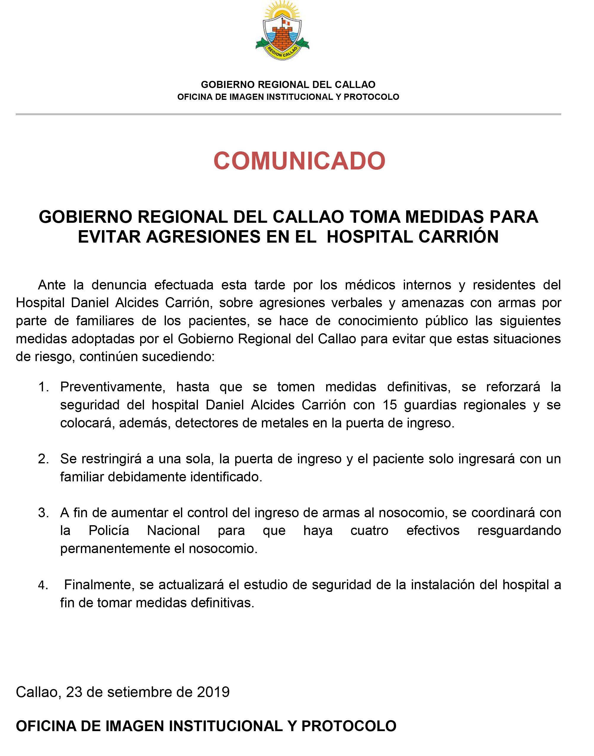 GOBIERNO REGIONAL DEL CALLAO TOMA MEDIDAS PARA EVITAR AGRESIONES EN EL HOSPITAL CARRIÓN.