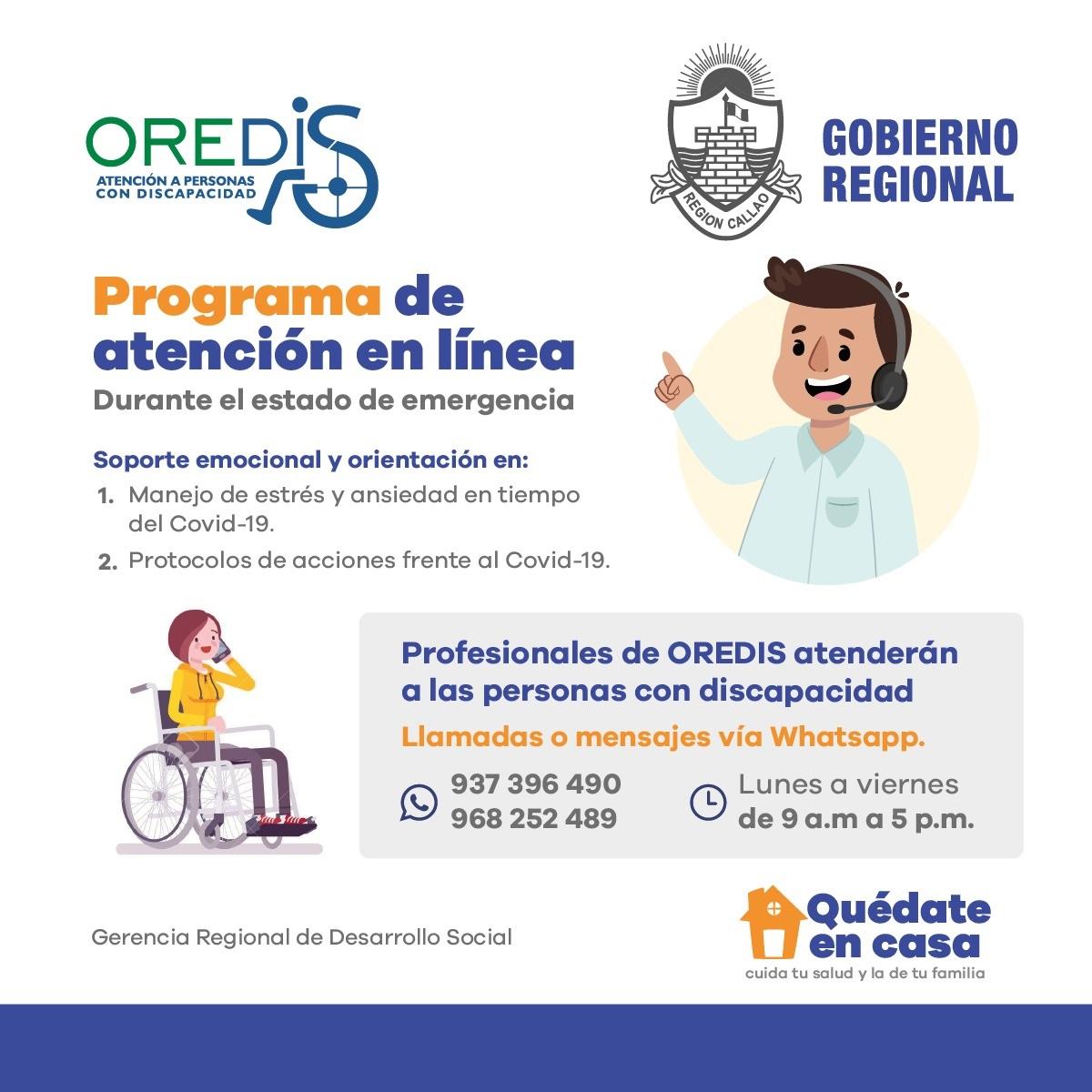 Programa de atención en línea para personas con discapacidad