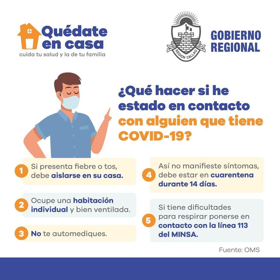 ¿Qué debo hacer si estuve en contacto con alguien que tiene Covid -19?