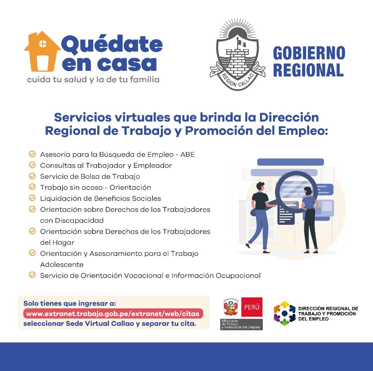 Servicios Virtuales de la Dirección Regional de Trabajo y Promoción del Empleo