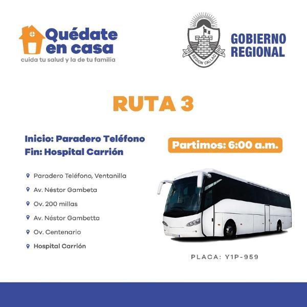 GOBIERNO REGIONAL DEL CALLAO DISPONE TRES RUTAS DE BUSES PARA TRASLADO DEL PERSONAL DE SALUD.