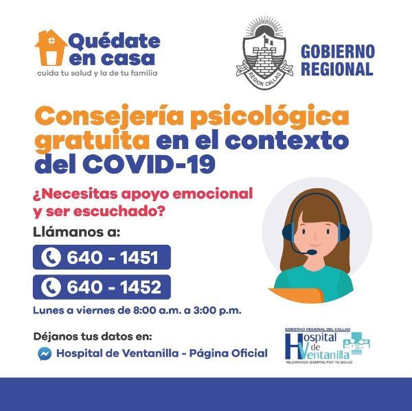 HOSPITAL DE VENTANILLA BRINDA SOPORTE EMOCIONAL A PERSONAS AFECTADAS POR LA CUARENTENA.